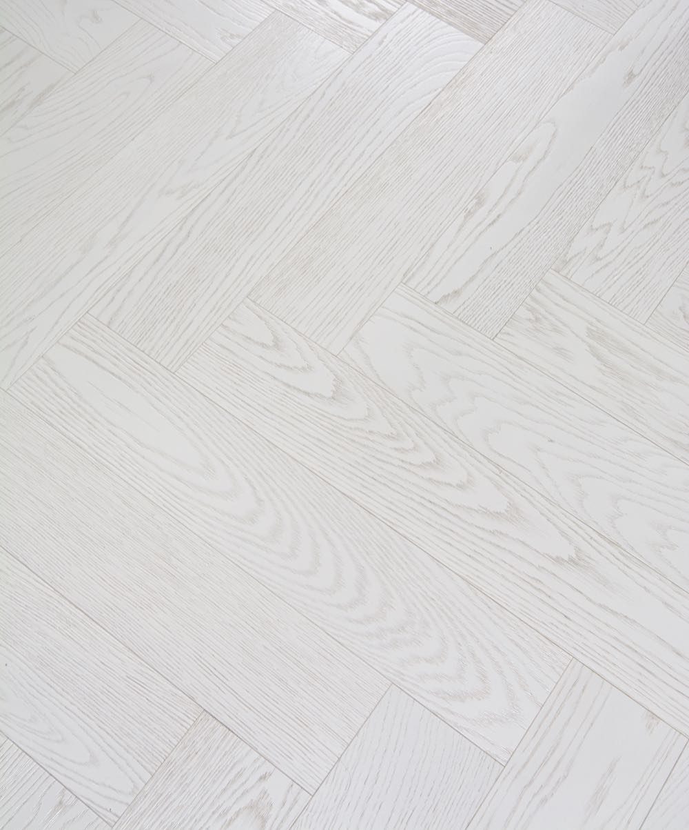 White Herringbone Floor - beautiful Italian parquet flooring to complement any decor