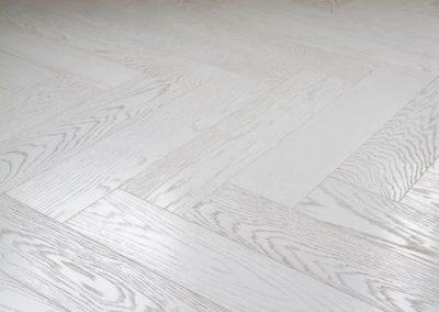 Textured Italian White Herringbone Floor, Lightly Brushed
