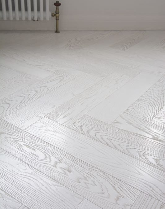 Textured Italian White Herringbone Floor, Lightly Brushed