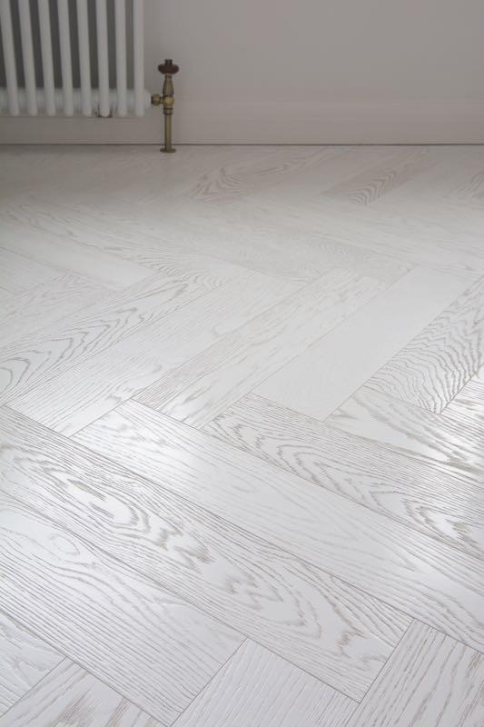 Textured Italian White Herringbone Floor Lightly Brushed