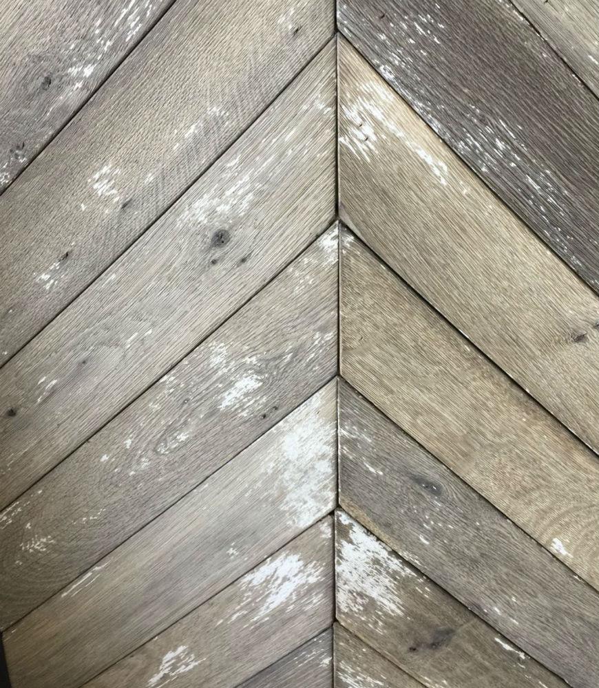 Painted and Distressed Herringbone Wood Flooring