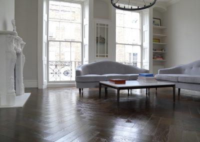 Herringbone Wood Flooring in Rich Brown Tones