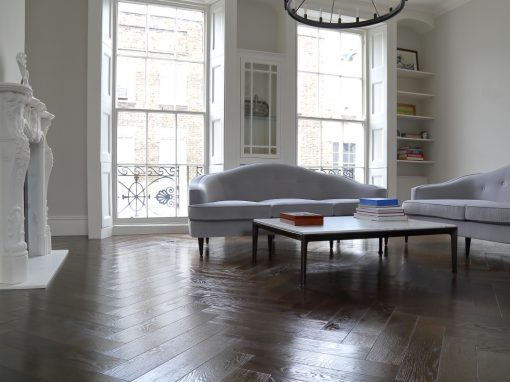 Herringbone Wood Flooring in Rich Brown Tones